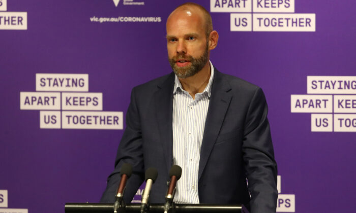 Jeroen Weimar of DHHS at a press conference in Melbourne, Australia on Oct. 14, 2020. (Robert Cianflone/Getty Images)