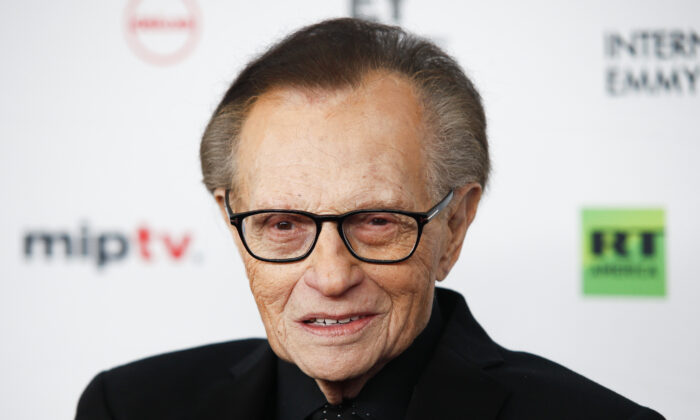 Larry King attends the 45th International Emmy Awards at the New York Hilton in New York City, on Nov. 20, 2017. (Andy Kropa/Invision/AP)