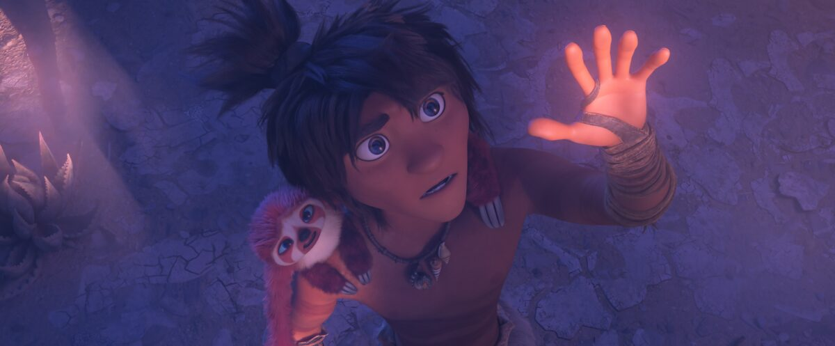 "Boy with sloth in ""The Croods: A New Age."""