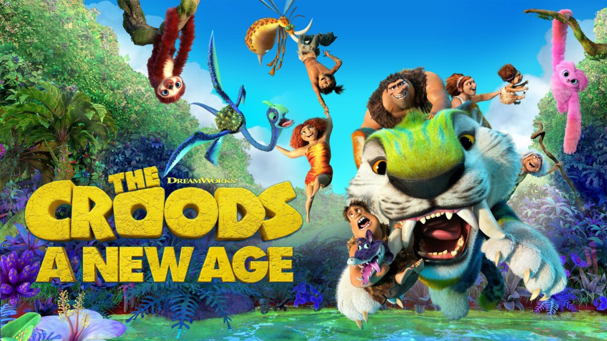 "cave family and assorted animals fly through the air in ""The Croods: A New Age"""