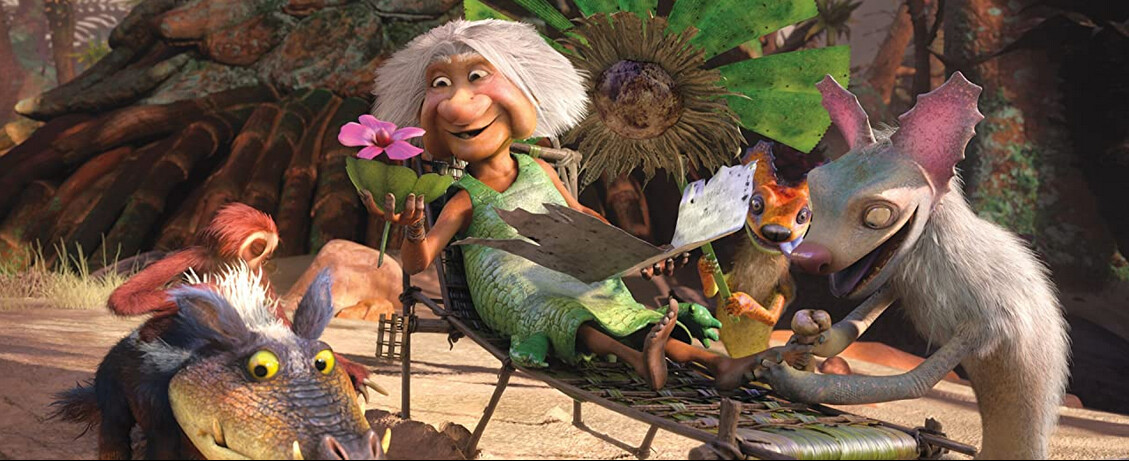 "elderly woman surrounded by prehistoric animals in ""The Croods: A New Age"""