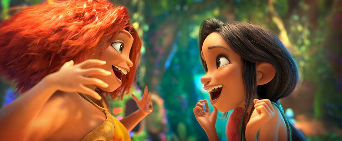 "two teen girls get excited in ""The Croods: A New Age"""