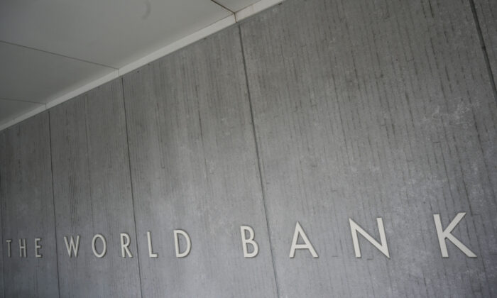 The World Bank Group logo is seen on the building of the Washington-based global development lender in Washington on Jan. 17, 2019. (Eric Baradat/AFP via Getty Images)