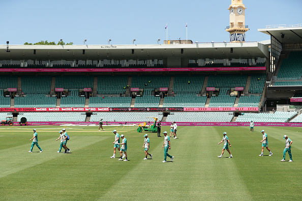 Australia team at the Sydney Cricket Ground in Sydney, Australia on Jan. 5, 2021. (Mark Metcalfe/Getty Images)