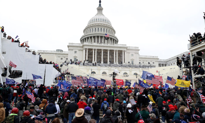 Protesters gather outside the U.S. Capitol Building in Washington on Jan. 6, 2021. (Tasos Katopodis/Getty Images)