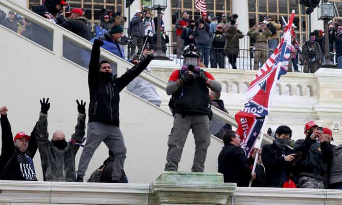 Protesters gather on the U.S. Capitol Building in Washington on Jan. 6, 2021. (Tasos Katopodis/Getty Images)