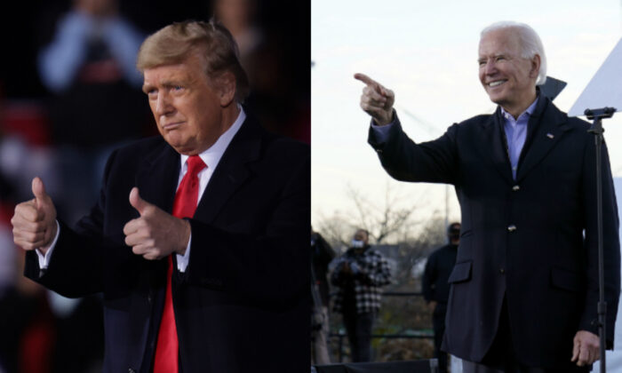 President Donald Trump (left) and President Joe Biden in file photographs. (Getty Images; AP Photo)
