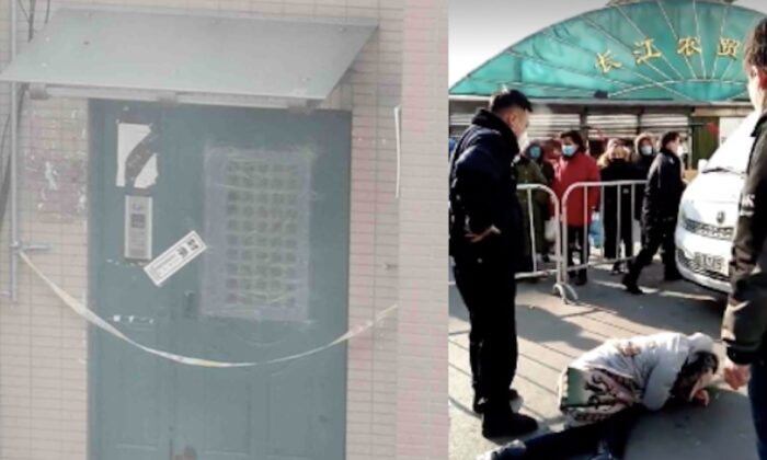 (L) An apartment building entrance is sealed off in Jinzhou district of Dalian, China on January 2021. (Provided by an interviewee) (R) A woman attempts to leave a locked down area but is stopped by police in Shenyang, China on January 2021. (Screenshot of a Twitter video)