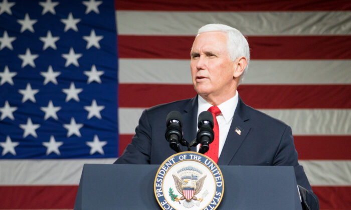 U.S. Vice President Mike Pence speaks during a visit to Rock Springs Church to campaign for GOP Senate candidates in Milner, Ga on Jan. 4, 2021. (Megan Varner/Getty Images)