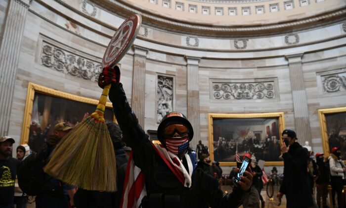 A group of protesters enter the U.S. Capitol Rotunda in Washington on Jan. 6, 2021. (Saul Loeb/AFP via Getty Images)