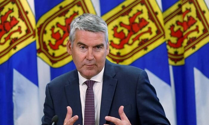 Nova Scotia Premier Stephen McNeil announces that he is stepping down as party leader and premier at a news conference in Halifax, on Aug. 6, 2020. (The Canadian Press)