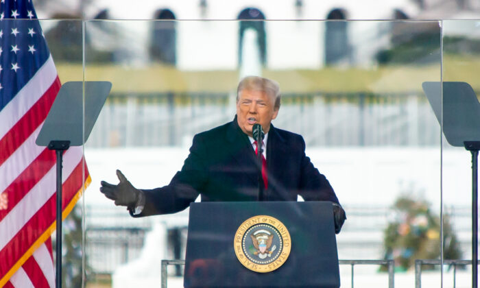 President Donald Trump speaks during a rally protesting the Electoral College certification of Joe Biden, in Washington on Jan. 6, 2021. (Lisa Fan/The Epoch Times)