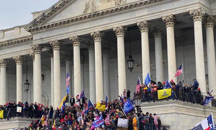 Protesters gather on the steps of the U.S. Capitol in Washington on Jan. 6, 2021. (Courtesy of Mark Simon)