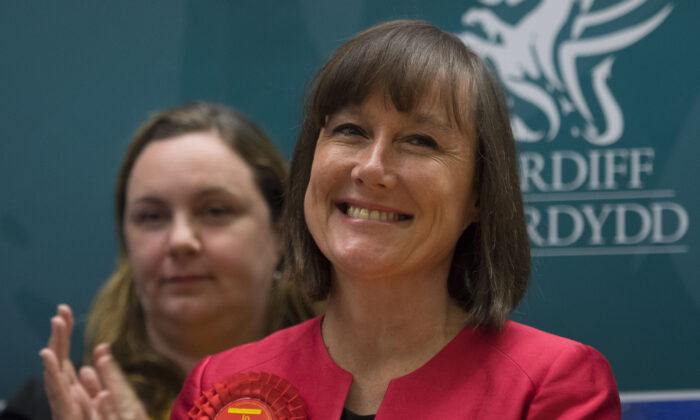 Jo Stevens smiles after winning Cardiff Central for Labour, at the Sport Wales National Centre in Cardiff, Wales, on June 9, 2017. (Matthew Horwood/Getty Images)