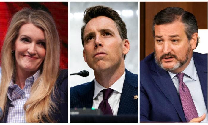 Sen. Kelly Loeffler (R-Ga.) (L), Sen. Josh Hawley (R-Mo.) (C) and Sen. Ted Cruz (R-Texas)(R). (Alex Wong, Anna Moneymaker and Greg Nash/Getty Images)