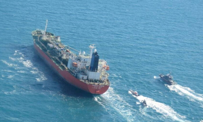 A South Korean-flagged tanker that was seized by Iran is seen in the Gulf, Iran on Jan. 4, 2021. (IRGC/West Asia News Agency via Reuters)