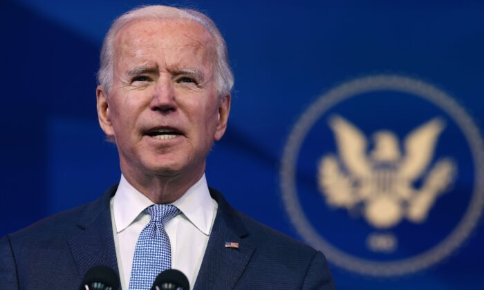 President-elect Joe Biden delivers remarks in Wilmington, Del., on Jan. 6, 2021. (Chip Somodevilla/Getty Images)