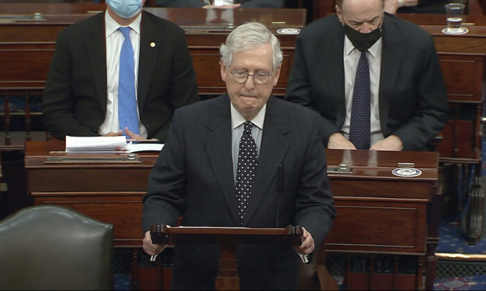 Senate Majority Leader Mitch McConnell (R-Ky.) speaks as the Senate reconvenes on Jan. 6, 2021. (Senate Television via AP)