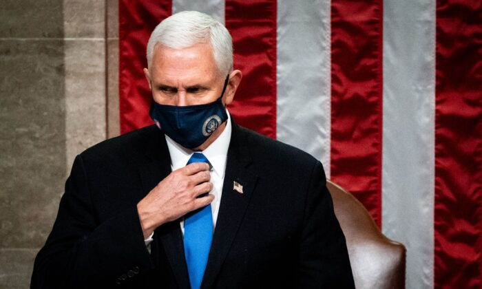 Vice President Mike Pence presides over a joint session of Congress to certify the 2020 Electoral College results, in Washington on Jan. 6, 2021. (Erin Schaff/Pool/AFP via Getty Images)