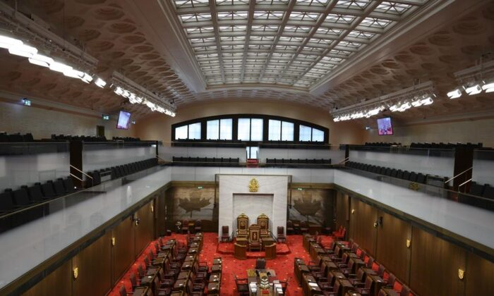 The Senate of Canada building and Senate Chamber are pictured in Ottawa, on Feb. 18, 2019. (The Canadian Press/Sean Kilpatrick)