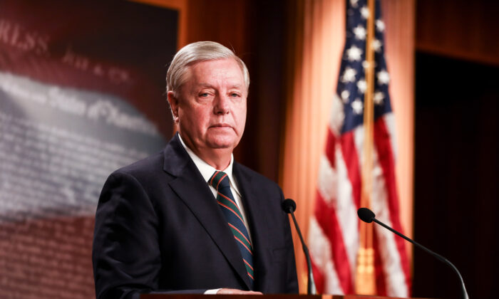 Sen. Lindsey Graham (R-S.C.) speaks to media at the Capitol in Washington on Jan. 7, 2021. (Charlotte Cuthbertson/The Epoch Times)