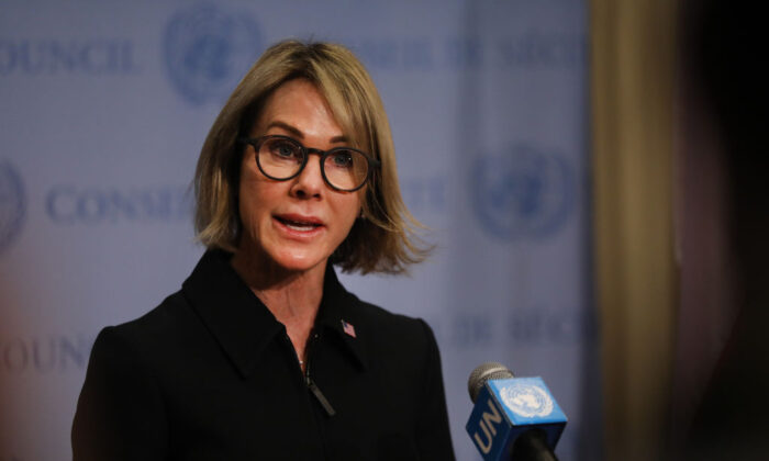 U.S. Ambassador to the United Nations, Kelly Craft, speaks to reporters at the U.N. headquarters in New York City, on Sept. 12, 2019. (Spencer Platt/Getty Images)