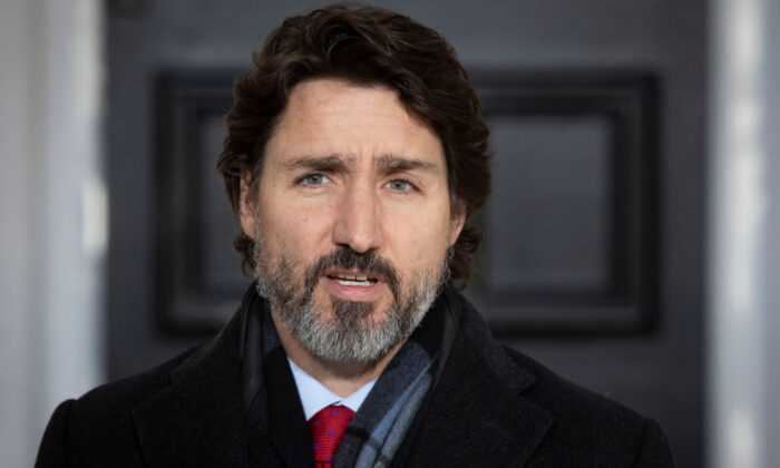 Canadian Prime Minister Justin Trudeau speaks during a COVID-19 briefing at the Rideau Cottage in Ottawa, Ontario, on Dec. 18, 2020. (Lars Hagberg/AFP via Getty Images)