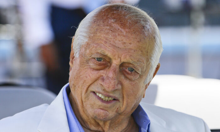Former Los Angeles Dodgers manager Tommy Lasorda attends a news conference in Los Angeles on April 11, 2018. (Damian Dovarganes/AP Photo File)