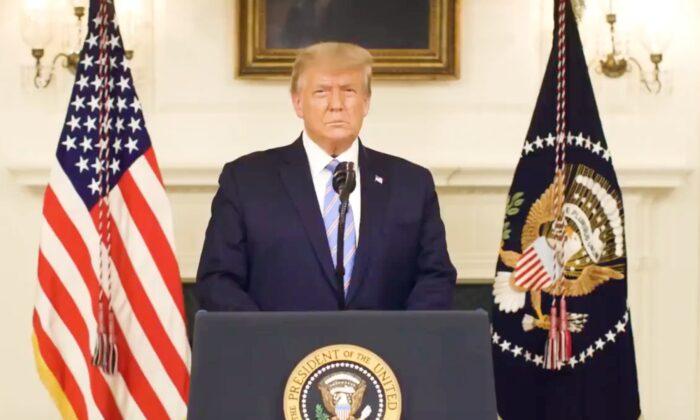 President Donald Trump speaking on video posted on his Twitter released on Jan. 7, 2020. (Screenshot/@realDonaldTrump)