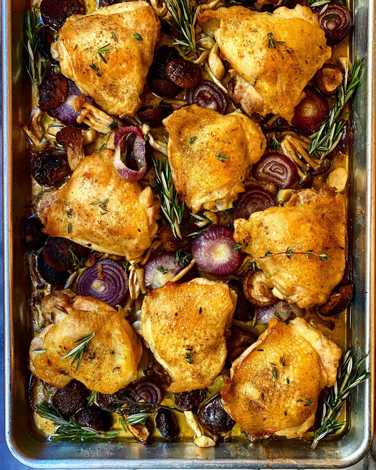 Sheet Pan Chicken With Wild Mushrooms and Onions