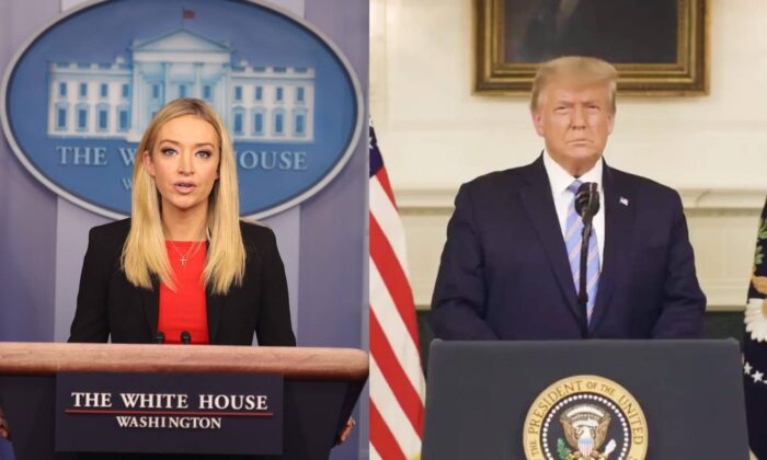 L: White House press secretary Kayleigh McEnany speaks in the James Brady Press Briefing Room at the White House in Washington on Jan. 7, 2021. (Tasos Katopodis/Getty Images) R: President Donald Trump delivers an address to the American people in a video posted to social media late on Jan. 7, 2021. (Donald Trump)