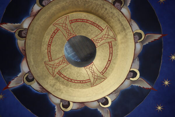 closeup of cupola encircled with angels