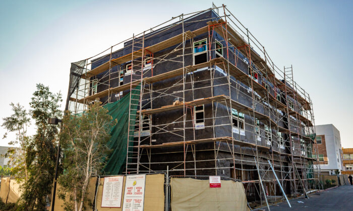 An apartment building under construction in Anaheim, Calif., on Jan. 8, 2021. (John Fredricks/The Epoch Times)