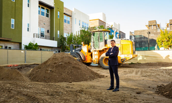 Anaheim Councilman Trevor O'Neil stands on a construction site in Anaheim, Calif., on Jan. 8, 2021. (John Fredricks/The Epoch Times)