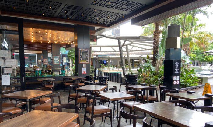 Westfield Garden City's dining precinct in Brisbane, Australia on Jan. 9, 2021. (The Epoch Times)