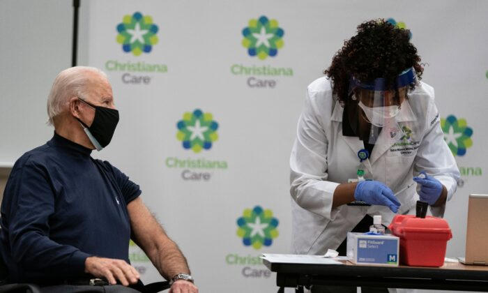 President-elect Joe Biden watches as a nurse fills a syringe with a COVID-19 vaccine, at the Christiana Care campus in Newark, Del., on Dec. 21, 2020. (Alex Edelman/AFP via Getty Images)