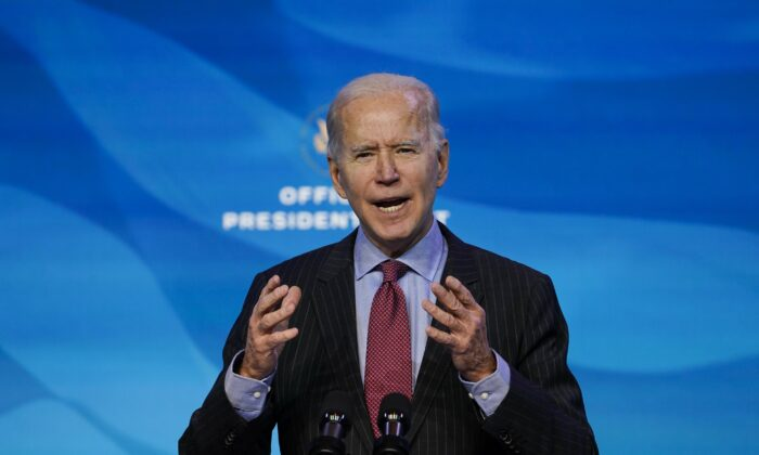 President-elect Joe Biden speaks during an event at The Queen theater in Wilmington, Del. on Jan. 8, 2021. (Susan Walsh/AP Photo)