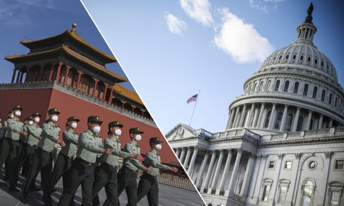 Soldiers of the People's Liberation Army's Honor Guard Battalion march outside the Forbidden City, near Tiananmen Square, in Beijing, on May  20, 2020.  (R) The U.S. Capitol building is seen on a cold and sunny winter day in Washington on Dec. 29, 2020.  (Kevin Frayer/Getty Images, Eric Baradat/AFP via Getty Images)