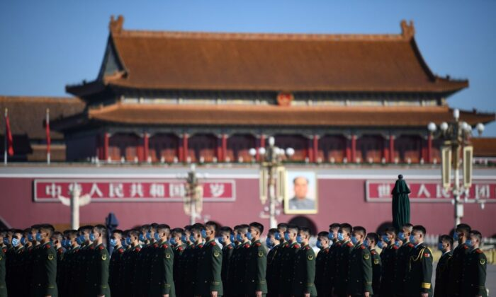 Chinese paramilitary police officers gather in Beijing's Tiananmen Square on Oct. 23, 2020. (Noel Celis/AFP via Getty Images)