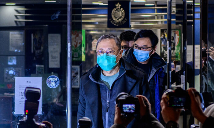 Hong Kong law professor and pro-democracy activist Benny Tai outside Ma On Shan Police station following his release on bail in Hong Kong on Jan. 7, 2021. (Anthony Wallace/AFP via Getty Images)