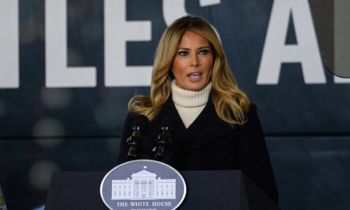 First Lady Melania Trump addresses the Marines Toys for Tots drive at Joint Base Base Anacostia Bolling in Washington on Dec. 8, 2020. (Nicholas Kamm/AFP via Getty Images)