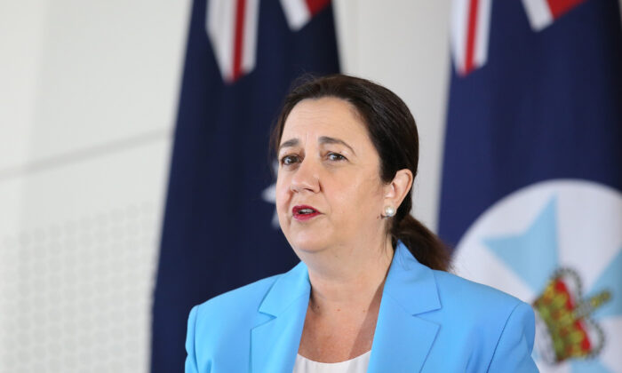 Queensland Premier Annastacia Palaszczuk speaks at a press conference in Brisbane, Australia on Jan. 11, 2021. (Jono Searle/Getty Images)