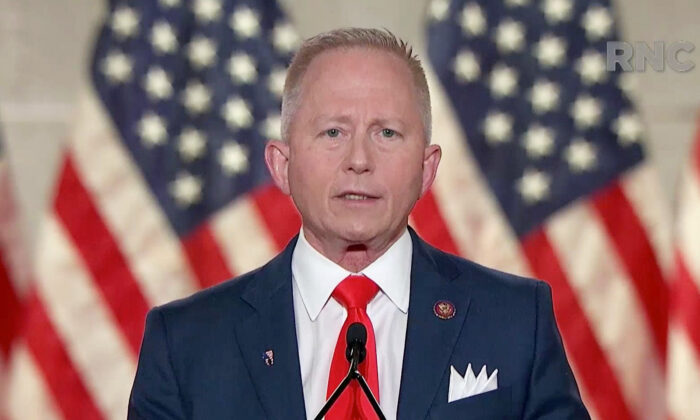 In this screenshot from the RNC's livestream of the 2020 Republican National Convention, U.S. Rep. Jeff Van Drew (R-NJ) addresses the virtual convention on Aug. 27, 2020. (Photo Courtesy of the Committee on Arrangements for the 2020 Republican National Committee via Getty Images)