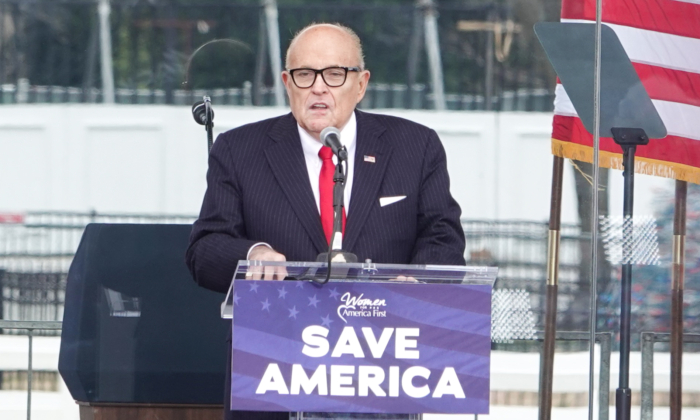 Attorney Rudy Giuliani at the Stop the Steal rally in Washington on Jan. 6, 2021. (Jenny Jing/The Epoch Times)