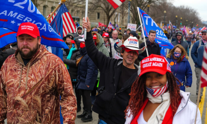 Pro-Trump supporters march in Washington on Jan. 6, 2021. (Mark Zou/The Epoch Times)