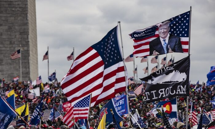 Supporters of President Donald Trump flock to the National Mall by the hundreds of thousands for a rally in Washington on Jan. 6, 2021. (Samuel Corum/Getty Images)