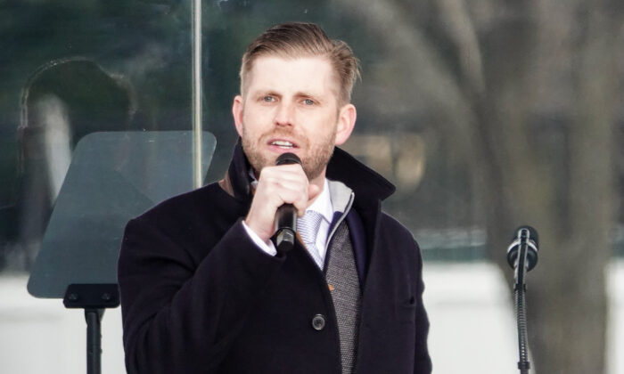 Eric Trump at the Stop the Steal rally in Washington on Jan. 6, 2021. (Jenny Jing/The Epoch Times)