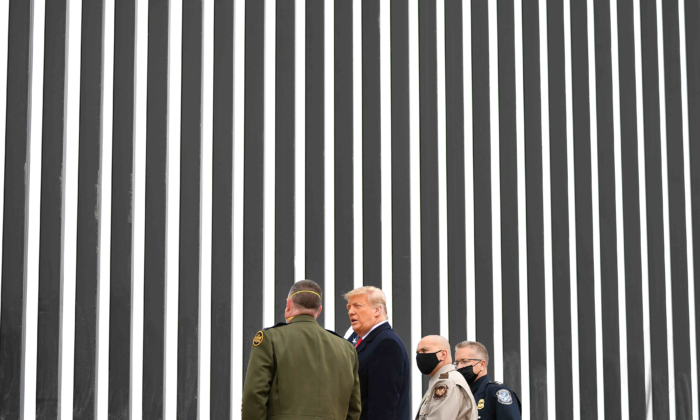 President Donald Trump tours a section of the border wall in Alamo, Texas on Jan. 12, 2021. (Mandel Ngan/AFP via Getty Images)