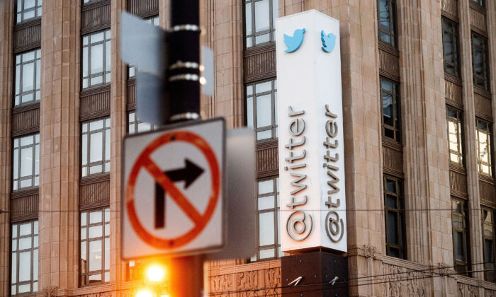 A sign hangs at Twitter headquarters in San Francisco on Jan. 11, 2021. (Noah Berger/AP Photo)