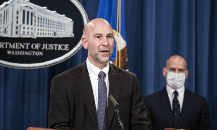 Steven D'Antuono, head of the FBI Washington field office, speaks during a news conference at the Department of Justice in Washington on Jan. 12, 2021. (Sarah Silbiger/Bloomberg/Pool)